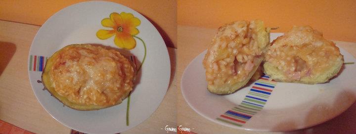 Patate ripiene con riso e pancetta