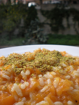 Risotto alla Zucca e Pistacchi mantecato al Gorgonzola