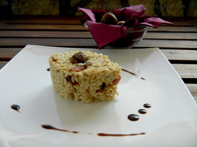 Risotto alle Castagne con Speck e Crema di Mirtilli