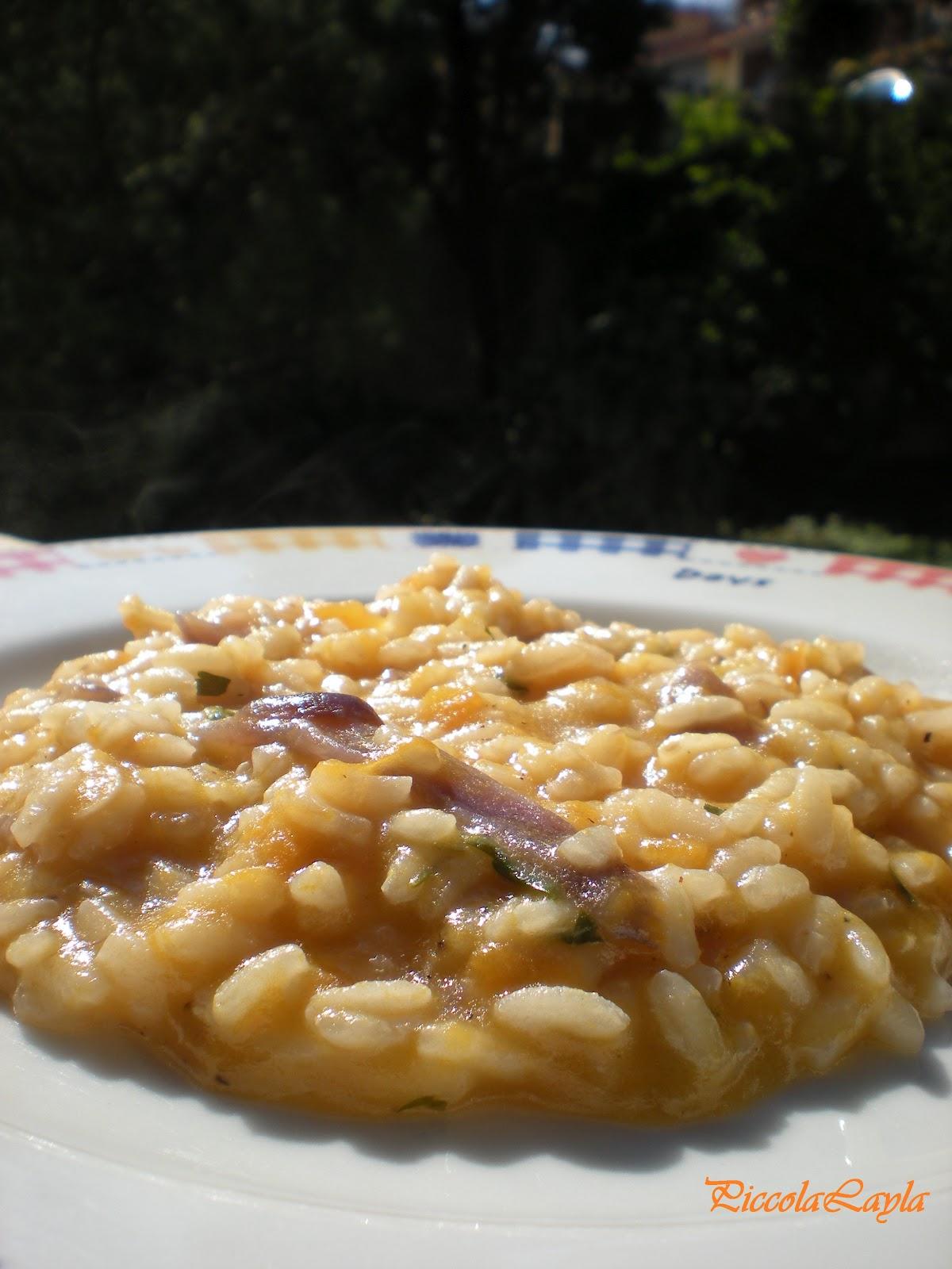 Risotto con Zucca gialla e cipolle rosse di Tropea
